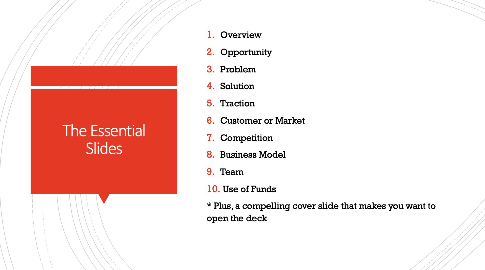 essential pitch deck slides